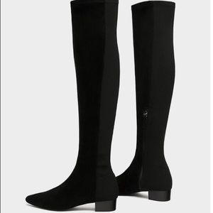 Zara Combined Flat Over the Knee Boots Faux Suede